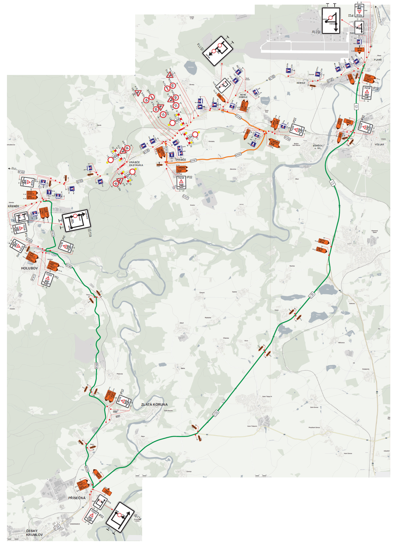 Vlastní uzavírka a objízdné trasy pro ostatní vozidla jsou značené viz.  příloha DIO Koroseky – Vrábče. 0b9b5b9734336