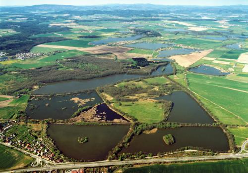 letecký pohled PR Vrbenské rybníky